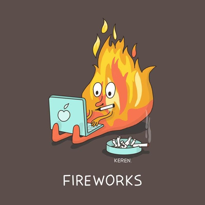 Cartoon - sgie KEREN. FIREWORKS