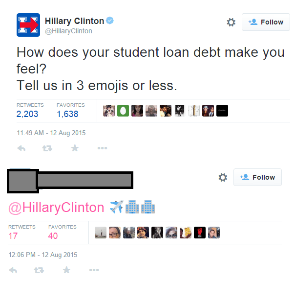 college meme about Hillary Clinton tweeting asking how Student Loan Debt makes them feel in 3 emojis and someone puts pic of airplane flying into two tall buildings.