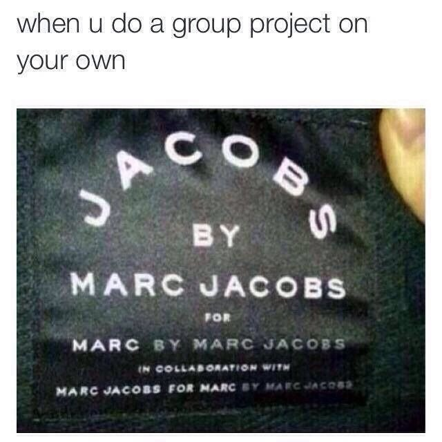 Funny student meme about when you do a group project all on your own.