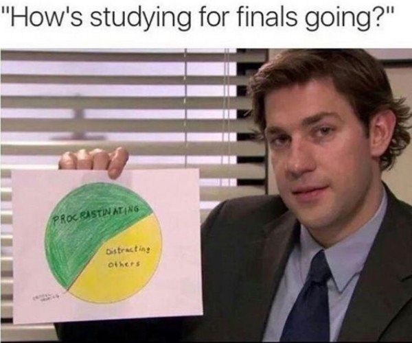 college meme with Jim Halpert about how studying for finals is mainly procrastination and outside distractions.