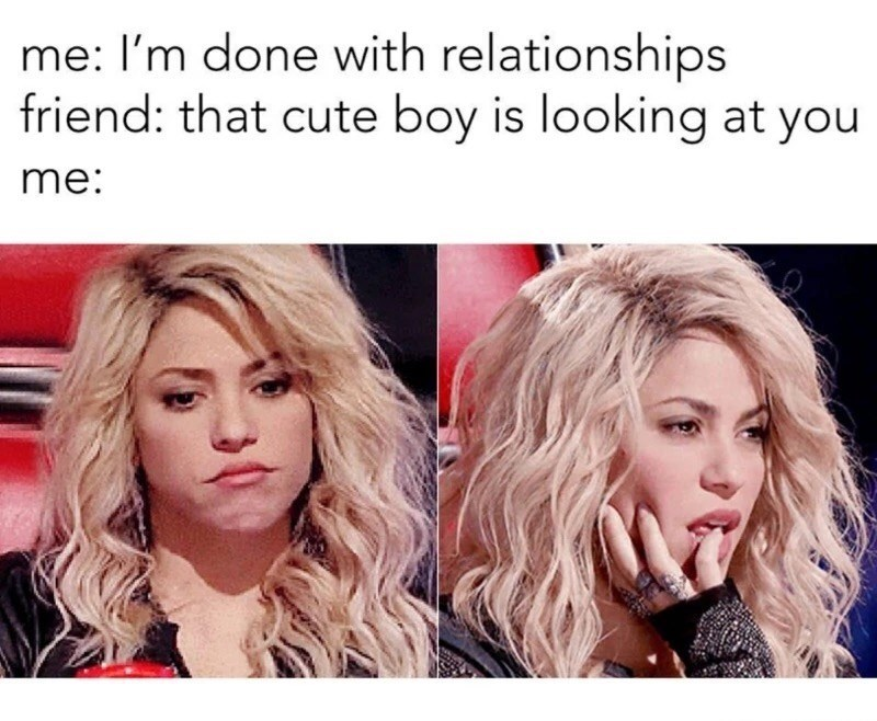 thirsty Thrusday meme about not giving up on relationships with pics of Shakira
