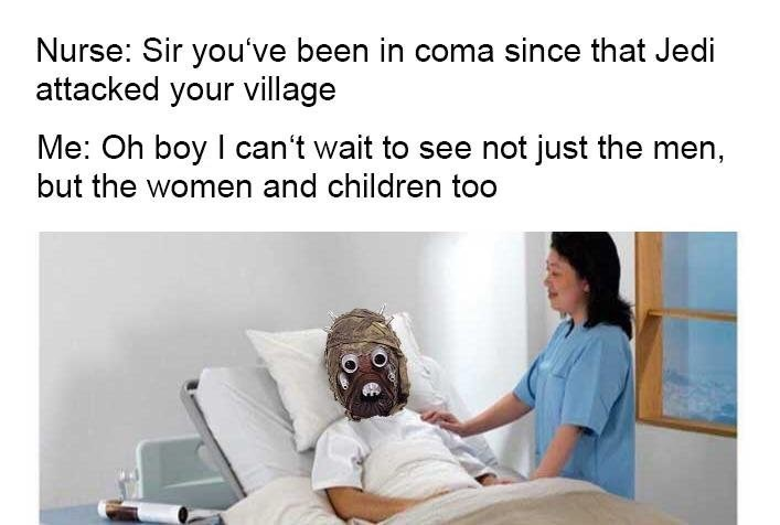Thrusday meme about the sand people's village getting destroyed in Star Wars