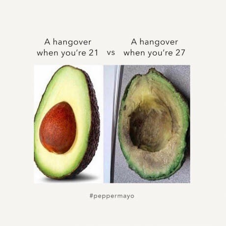 Thrusday meme about getting worse hangovers as you grow older illustrated by avocados