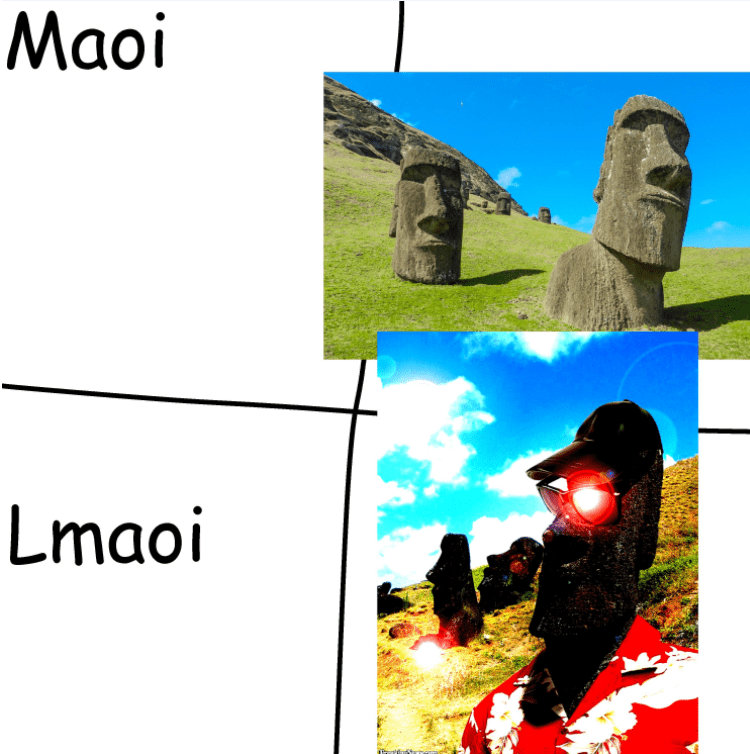 Thrusday meme of the Moai heads with glowing eyes