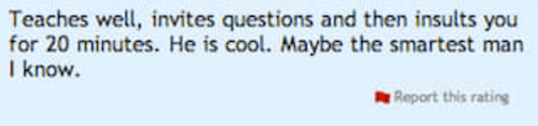 screenshot of a comment on rate my professors
