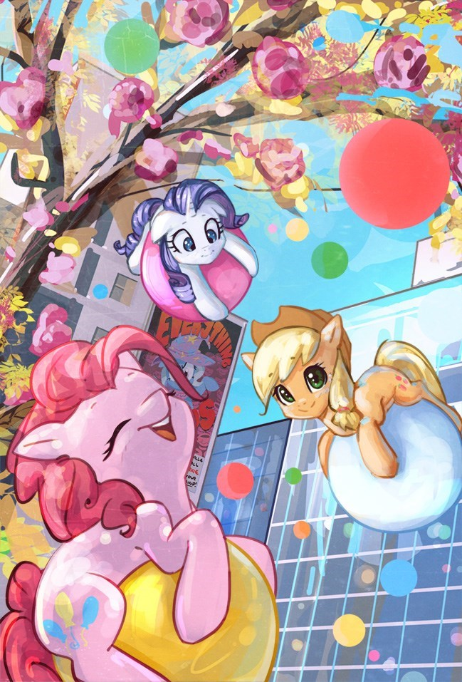mirrored sea applejack the great and powerful trixie pinkie pie rarity