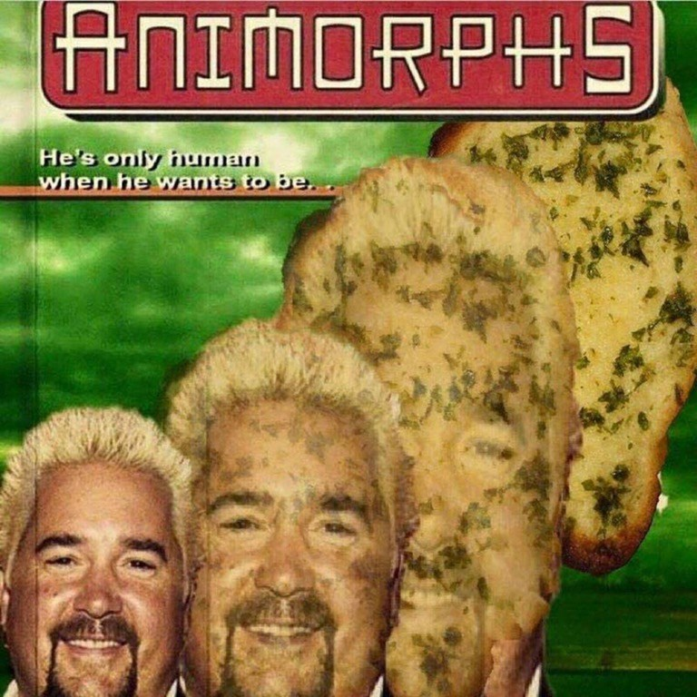 Funny image of Guy Fieri morphing into garlic bread in the style of an Animorphs book cover.
