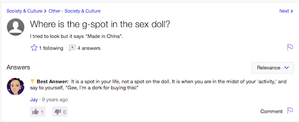 Yahoo answers question about finding the G-spot on an inflatable doll.