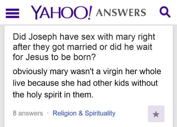 Yahoo Answers question about the virgin mary.