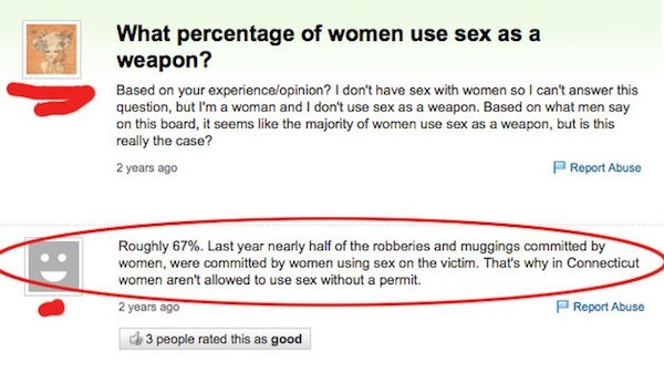 Woman asking on Yahoo Answers if women use sex as a weapon and someone jokingly posts a statistic answering that question, badly.