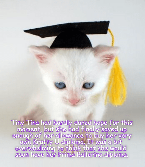 Krafty University Diploma kitten meme