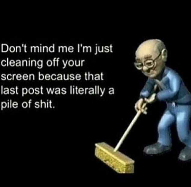 Text - Don't mind me I'm just cleaning off your screen because that last post was literally a pile of shit.