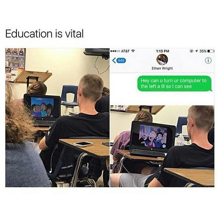 Product - Education is vital .00 AT&T 1 35% 1:13 PM 440 Ethan Wright Hey can u turn ur computer to the left a lil so I can see