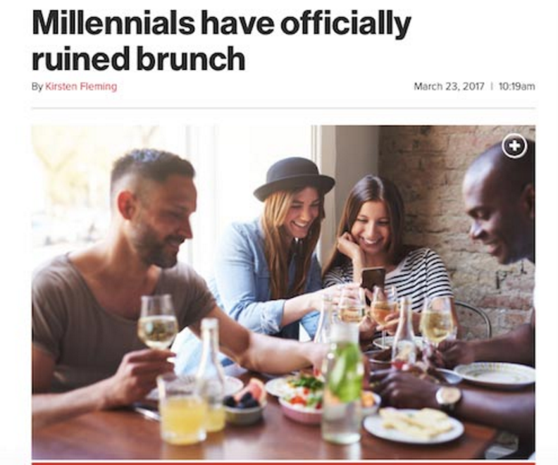 Picture of Millennials ruining the concept of brunch.