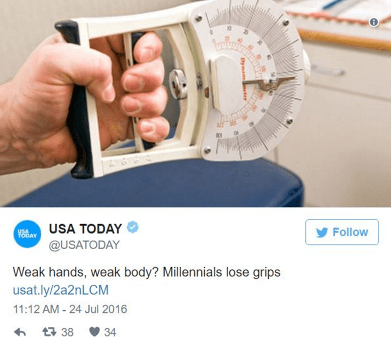 Product - USA TODAY Y8DAY Follow @USATODAY Weak hands, weak body? Millennials lose grips usat.ly/2a2nLCM 11:12 AM - 24 Jul 2016 t38 34
