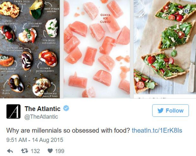 Food - PIMENT CHEESE ఆ FRESH SPINACE anichoke GUAVA ICE CUBES CAPRESE SPICY SHRIMP cocktail FETA CHEESE with seallions TASPREARY JAM 8 sticed almonds NOKED SALMON it spisach JULIENNED rarisated prppers LIVES & garlie 6RCOMZO pacon&konry The Atlantic Follow @TheAtlantic Why are millennials so obsessed with food? theatin.tc/1ErK8ls 9:51 AM - 14 Aug 2015 t132 199