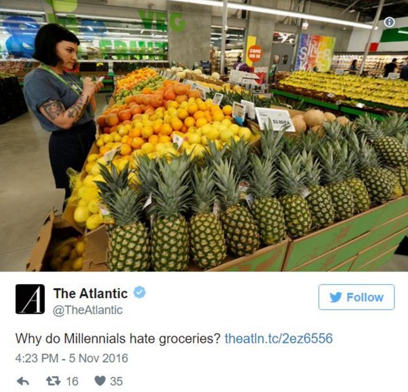 Natural foods - COME $3.00E A The Atlantic Follow @TheAtlantic Why do Millennials hate groceries? theatin.tc/2ez6556 4:23 PM -5 Nov 2016 35 17 16