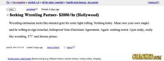 Strange request for a wrestling partner on Craigslist Hollywood