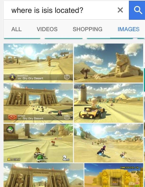 Funny meme that claims ISIS is located in a location within the game Mario Kart, the dry dry desert.