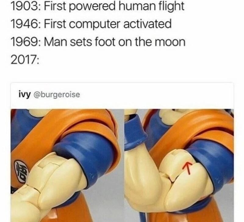 Funny meme comparing great technological events to the Goku action figures that can flex their muscles.