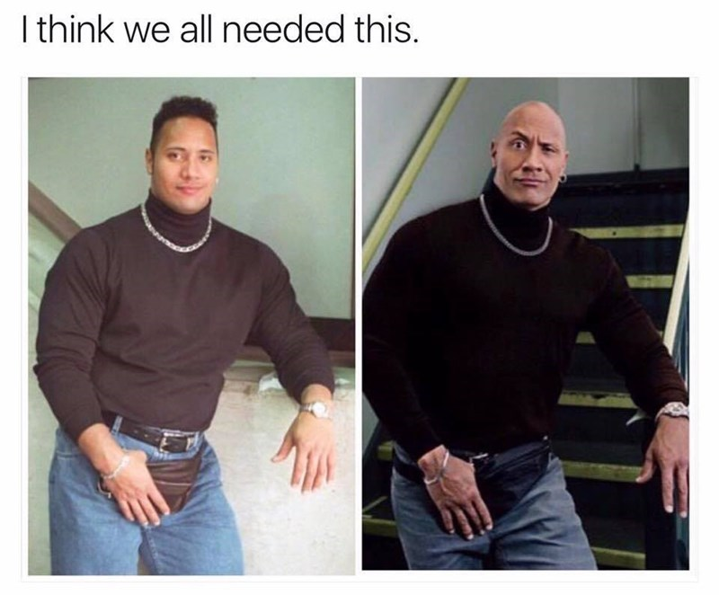 Funny meme featuring two photos of the rock in a hilarious 80s outfit, the original and a redo with a fannypack.