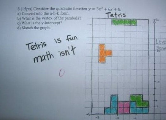 Text - 8.(15pts) Consider the quadratic fünetion y 3x2+ 6x +5. a) Convert into the a-h-k form. b) What is the vertex of the parabola? c) What is the y-intercept? d) Sketch the graph. Tetris Tetris is fun math isn't Leve Scor