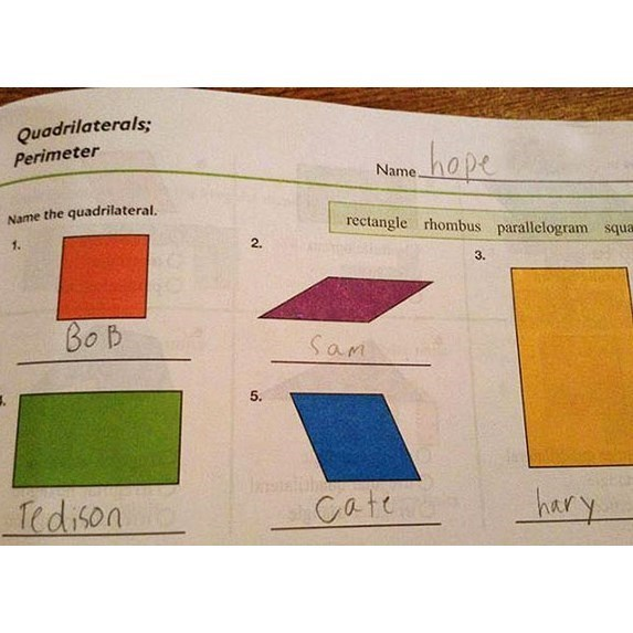 Text - Quadrilaterals; hape Perimeter Name. Name the quadrilateral. rectangle rhombus parallelogram squa 1. 2. 3. Bob Sam 5. Iedison Cate hary