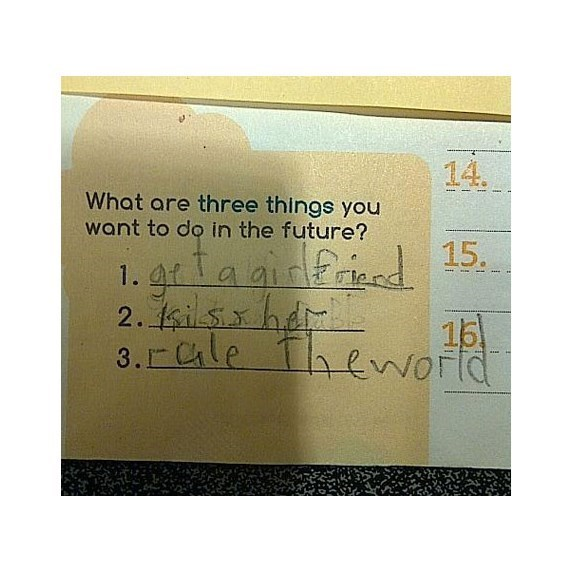 Text - 14. What are three things you want to do in the future? grlaaifrind 15 2. sih 15 3. Cle theworld