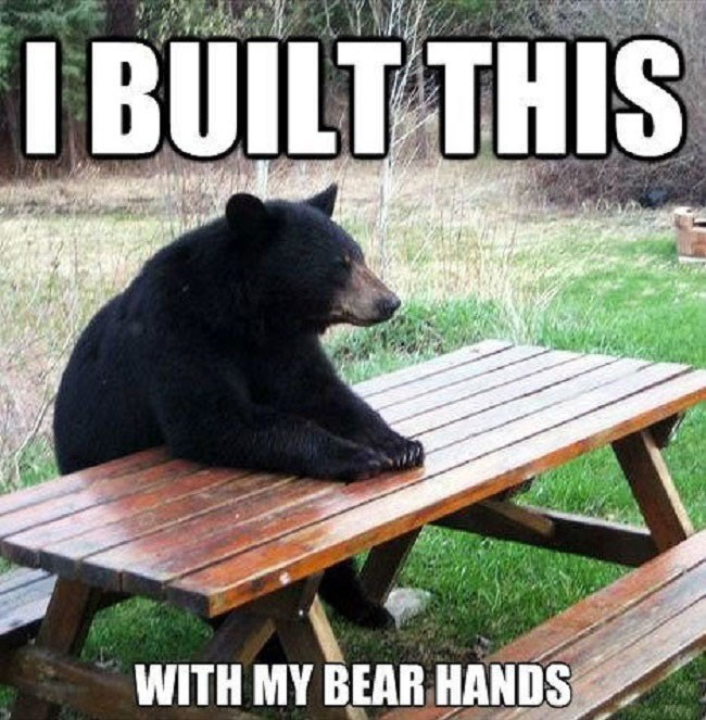 Pun meme of a bear at a picnic table