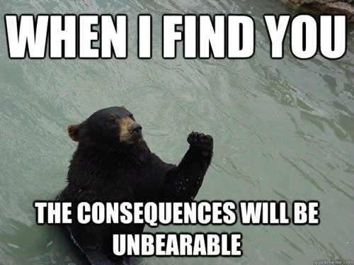 Unbearable pun with a bear with his fist in the air.