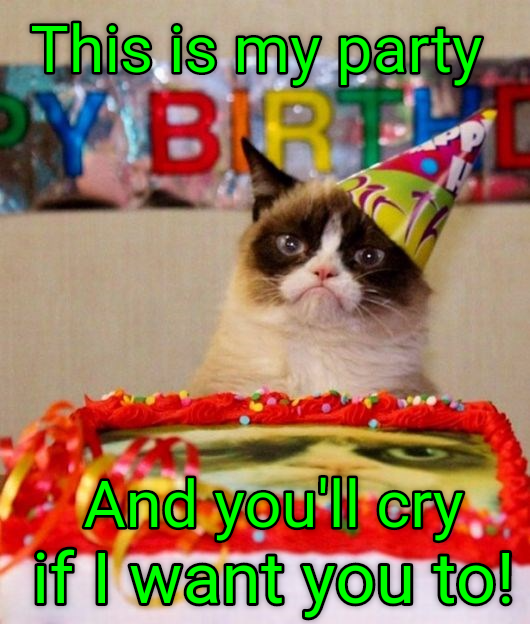 Grumpy cat has a birthday party, and you'll cry if he wants you to