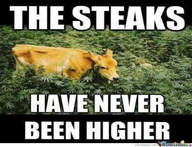 funny pun about steaks never been higher with a cow eating up hemp plants