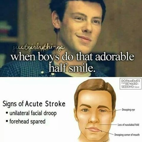 "Funny ""just girly things"" meme about when boys do a ""half smile"" - the lower panel is showing signs of a stroke - the medical issue."