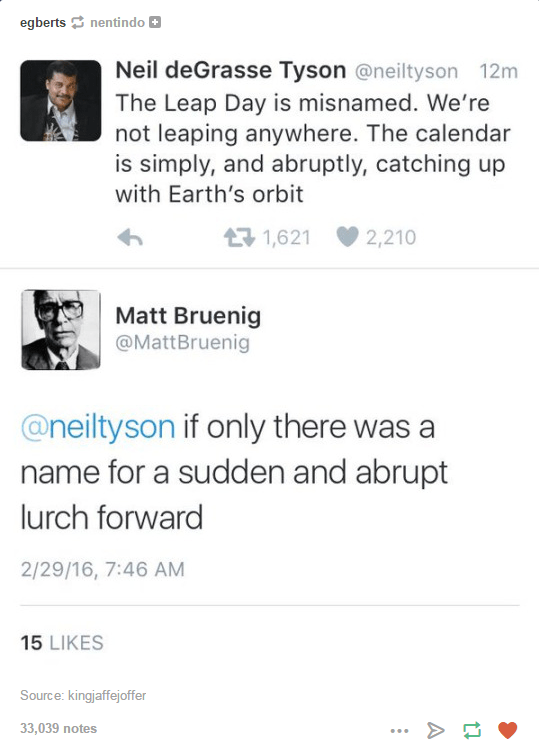 Funny exchange on Twitter with Neil deGrasse Tyson explaining how leap day is just a calendar issue.