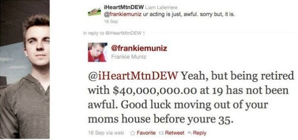 Frankie Muniz providing some nice burn to someone who is not a fan of his work.