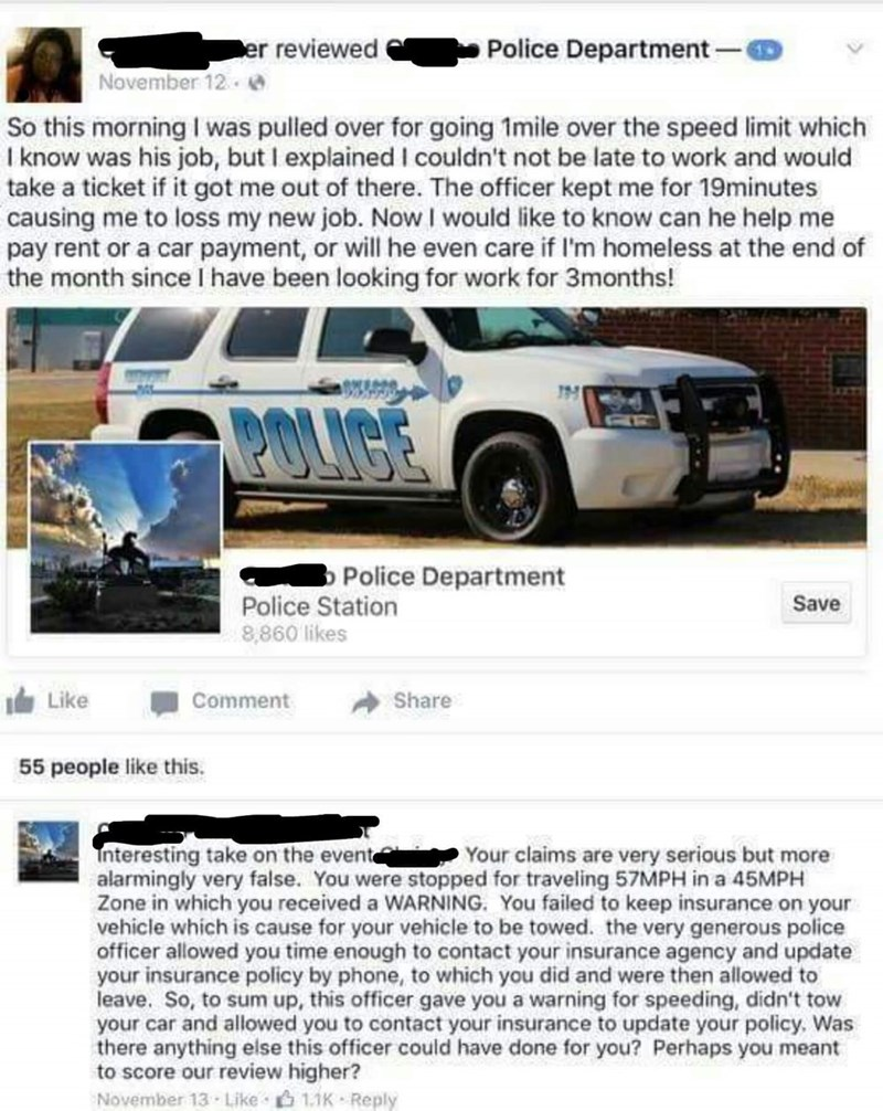 Police respond on facebook to woman who exaggerated her story about cops pulling her over.