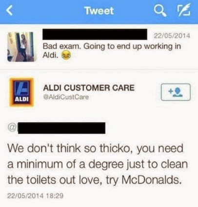 Tweet of user who failed his exam and says he will probably work at Aldi, is responded by Aldi who say you need a degree to work there, maybe try McDonalds.