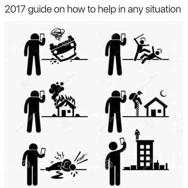 Funny guide to how to deal with everything in 2017 by just taking a picture of it with your phone.