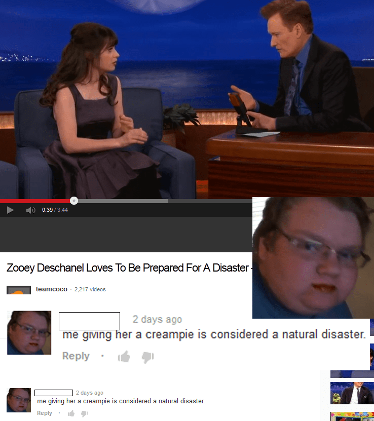 Cringey post and profile pic of commentor about Zooey Deschanel and a natural disaster.