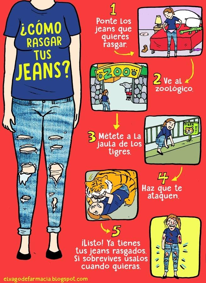 cuadro explicativo como hacer para rasgar los jeans