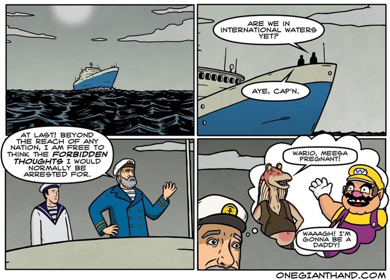 Funny web comic set on a boat, the captain can now think his forbidden thoughts - he is thinking about Jar Jar Binks from Star Wars being impregnated by Wario.