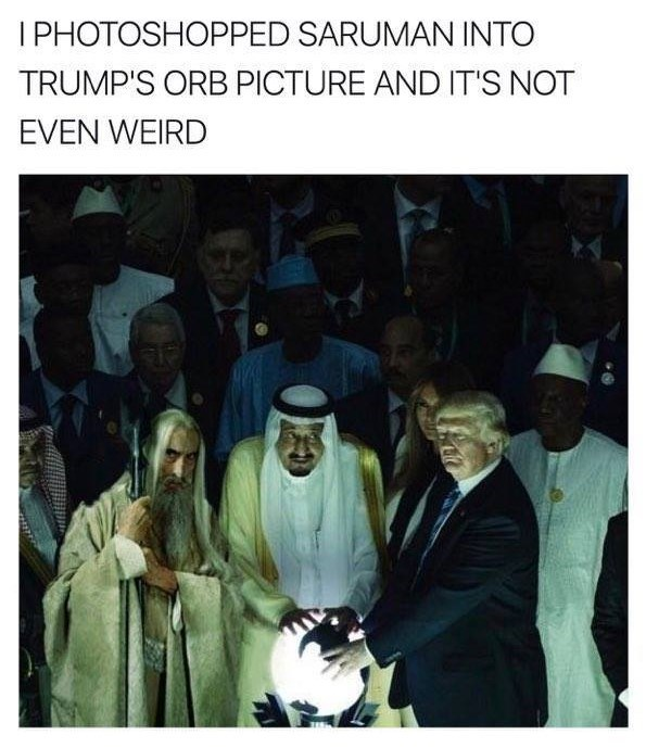 Twitter meme where Shahak Shapira photoshopped Saruman into the image of Donald Trump touching an orb.