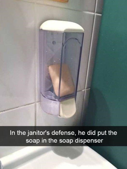 snapchat - Toilet - In the janitor's defense, he did put the soap in the soap dispenser