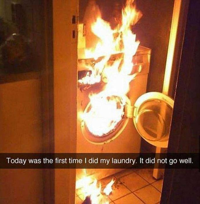 snapchat - Heat - Today was the first time I did my laundry. It did not go wel.