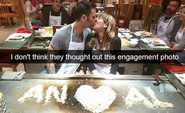 snapchat - Food - I don't think they thought out this engagement photo