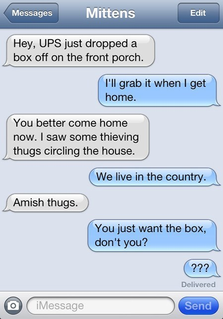 Text - Mittens Messages Edit Hey, UPS just dropped a box off on the front porch. I'll grab it when I get home. You better come home now. I saw some thieving thugs circling the house. We live in the country. Amish thugs. You just want the box, don't you? ??? Delivered Send iMessage