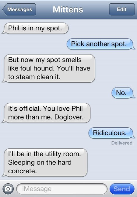 Text - Mittens Messages Edit Phil is in my spot. Pick another spot. But now my spot smells like foul hound. You'll have to steam clean it. No. It's official. You love Phil more than me. Doglover. Ridiculous. Delivered I'll be in the utility room. Sleeping on the hard concrete. Send iMessage