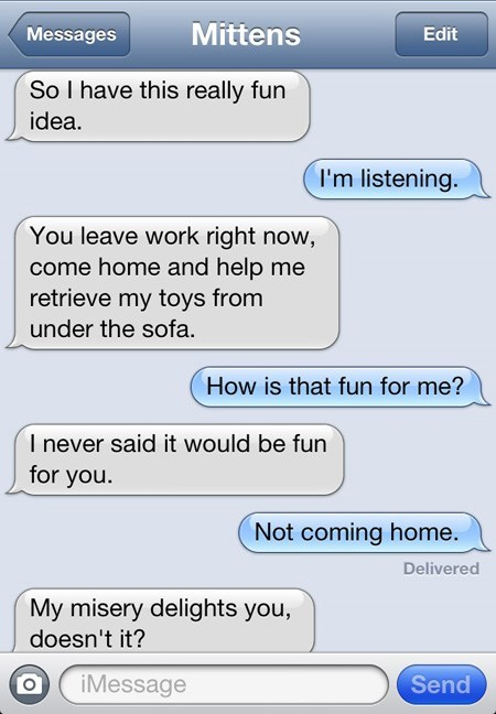 Text - Mittens Messages Edit So I have this really fun idea. I'm listening. You leave work right now, come home and help me retrieve my toys from under the sofa How is that fun for me? I never said it would be fun for you. Not coming home. Delivered My misery delights you, doesn't it? Send iMessage