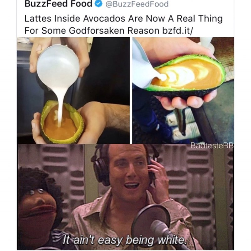 Funny meme about lattes being served in avocado making fun of white people.