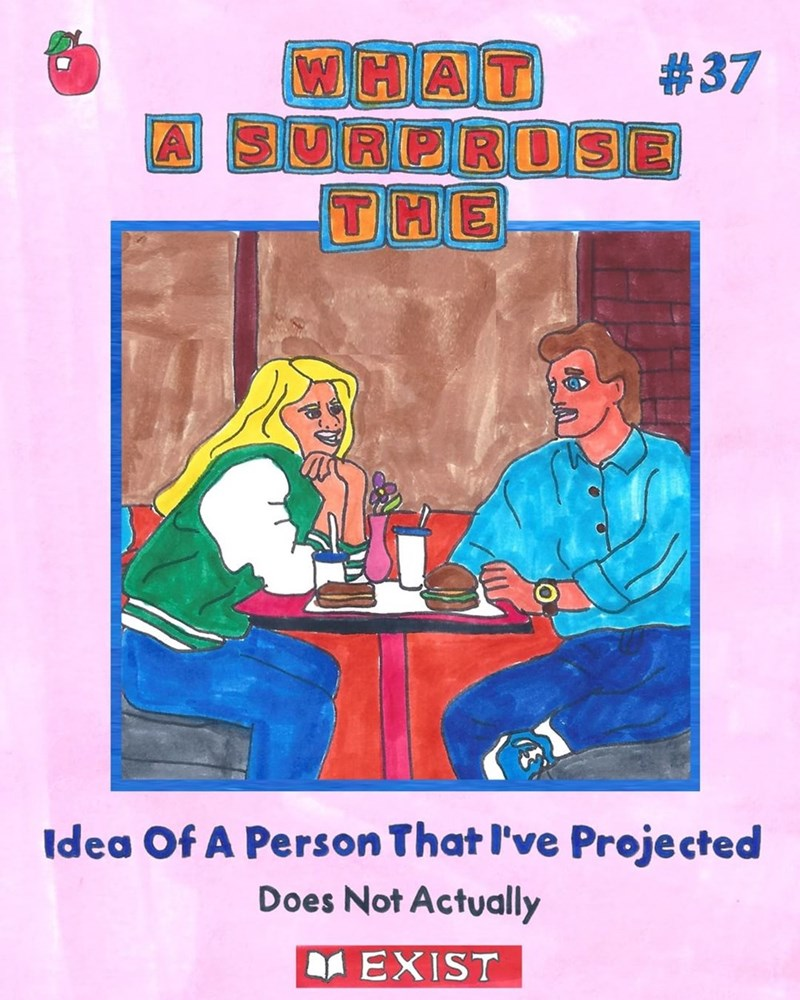 Funny meme about relationships, image is a drawing in the style of the babysitter's clubs books - the text is about projecting something onto someone when in a relationship.